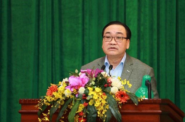 Bí thư Thành ủy Hà Nội Hoàng Trung Hải phát biểu kết luận hội nghị