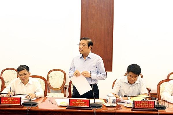 Ông Phan Đình Trạc - Trưởng Ban Nội chính Trung ương phát biểu tại buổi công bố quyết định kiểm tra ngày 28/11 (Ảnh: BNCTW).