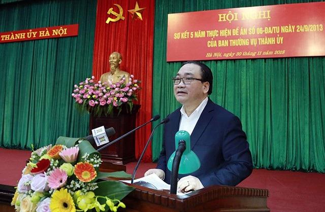 Ông Hoàng Trung Hải - Bí thư Thành ủy Hà Nội phát biểu tại hội nghị