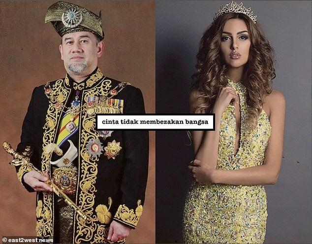 Nhà vua Malaysia Sultan Muhammad V và cựu hoa hậu Nga (Ảnh: East2west)