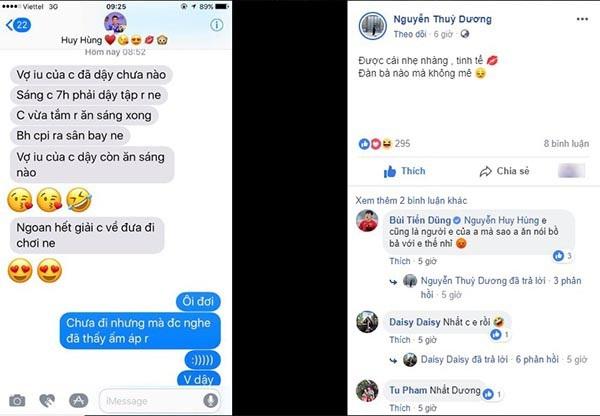 Nguyễn Thùy Dương - bạn gái của tiền vệ Nguyễn Huy Hùng đã chia sẻ những dòng tin nhắn ngọt ngào từ bạn trai ở nơi xa, đáp lại tin nhắn của Huy Hùng, Thuỳ Dương khen bạn trai: Nhẹ nhàng, tinh tế, đàn bà nào mà không mê khiến nhiều người thích thú.