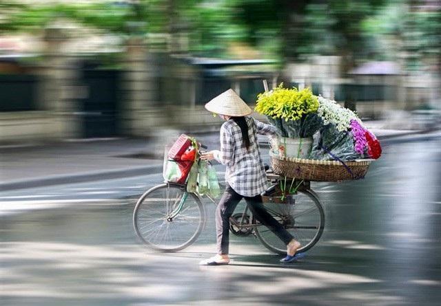 Dễ dàng bắt gặp những xe hàng rong chở đầy hoa trên phố Phan Đình Phùng