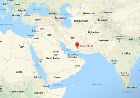 Vị trí cảng Bandar Abbas của Iran, điểm cập bến đầu tiên trong hành trình mới của ba quốc gia này