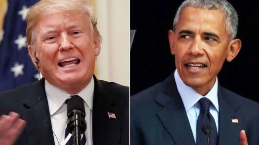 Tổng thống Mỹ Donald Trump và người tiền nhiệm Barack Obama (Ảnh: CNBC)