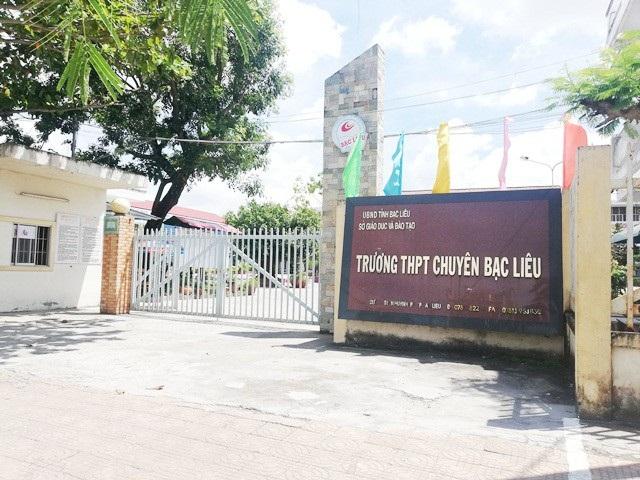Trường THPT Chuyên Bạc Liêu (tỉnh Bạc Liêu), nơi xảy ra hàng loạt sai phạm tài chính trong giai đoạn 2014 - 2015.