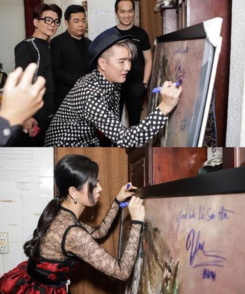 Ca sĩ Đàm Vĩnh Hưng, Lệ Quyên ký tên lên bức tranh bán đấu giá khiến dư luận phản ứng.
