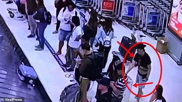 Hình ảnh từ camera giám sát ghi lại hành vi phạm tội của cặp đôi