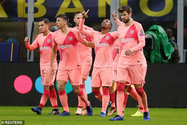 ... sau khi ghi bàn mở tỷ số cho Barcelona ở phút 83