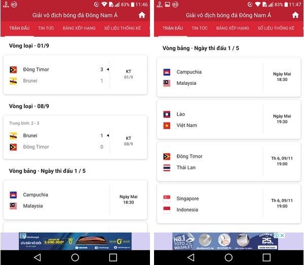 Ứng dụng hữu ích giúp theo dõi lịch thi đấu AFF Cup trên smartphone - 1