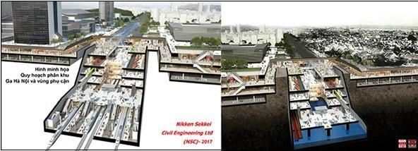 Phương án Ga Hà Nội ngầm do Nikken Sekkei đề xuất 2017 và ĐSĐT ngầm kết hợp không gian thương mại, hạ tầng kỹ thuật bãi đỗ xe, kênh ngầm thoát nước,... do Citysolution đề xuất 2018 - Nguồn: Hanoidata
