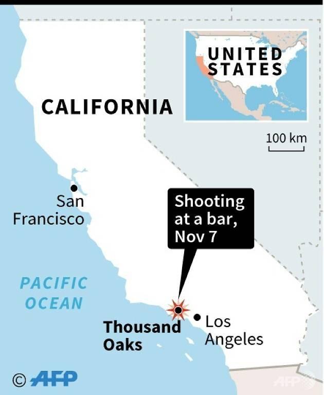 Vị trí nơi xảy ra vụ xả súng tại Mỹ. (Ảnh: AFP)