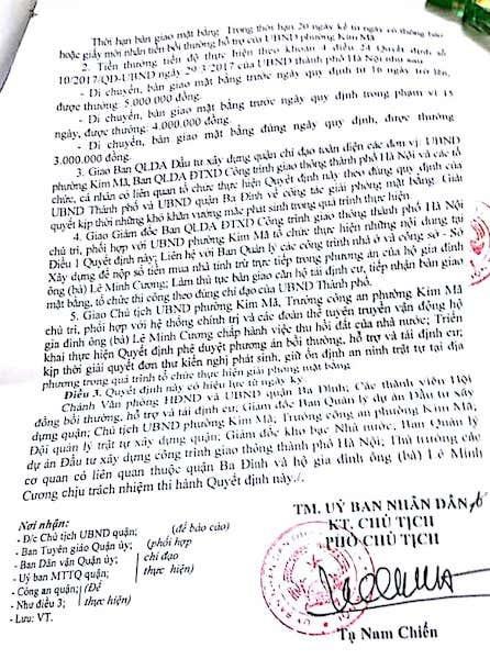 Phương an bồi thường, hỗ trợ và tái định cư của UBND quận Ba Đình không nhận được sự đồng tình của người dân.