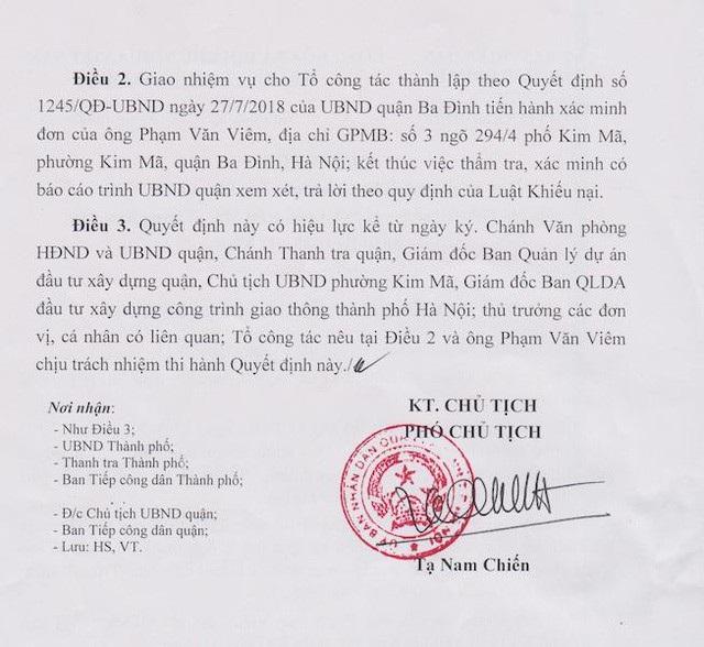 Quận Ba Đình chính thức thụ lý giải quyết khiếu nại của người dân bị thu hồi đất.