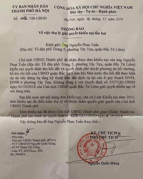 Chủ tịch TP Hà Nội giao chánh thanh tra làm rõ đơn khiếu nại của công dân!