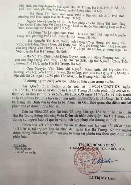 """Toà quận Hai Bà Trưng thêm một lần thông báo mở lại phiên toà, cụ bà 76 tuổi """"ngao ngán""""."""