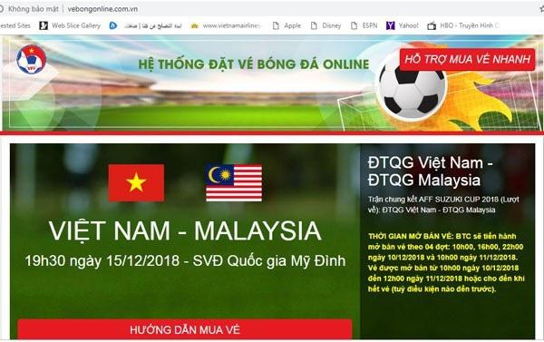 Website mạo danh trang bán vé online của VFF có giao diện giống y hệt.