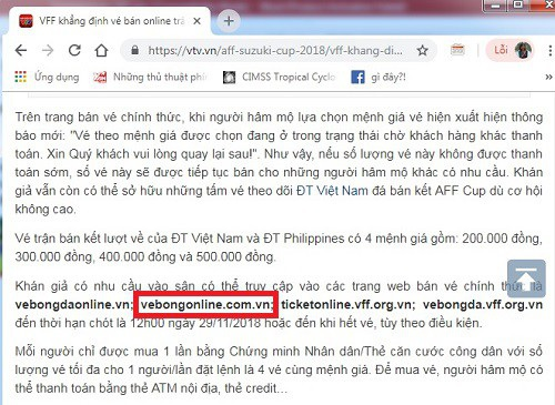 VFF đã vô tình quảng cáo cho trang web giả mạo trong một thông báo phát đi cách đây ít ngày.