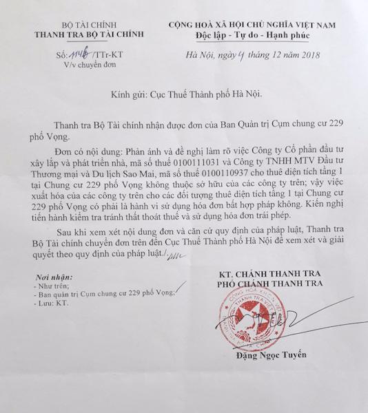 Thanh tra Bộ Tài chính chuyển đon thư cư dân 229 phố Vọng đến Cục thuế TP Hà Nội.
