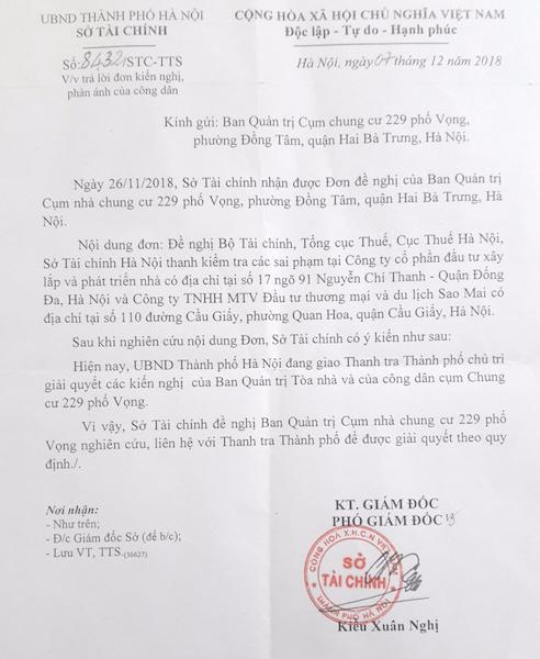 Sở Tài chính TP Hà Nội cho biết hiện nay, UBND Thành phố Hà Nội đang giao Thanh tra Thành phố chủ trì giải quyết các kiến nghị của Ban quản trị Tòa nhà và của công dân cụm Chung cư 229 Phố Vọng.