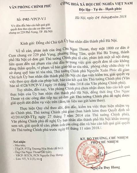 Thủ tướng yêu cầu TP Hà Nội báo cáo vụ việc cư dân cụm chung cư 229 phố Vọng kêu cứu.