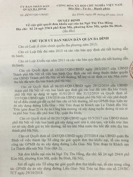 Hà Nội: UBND quận Ba Đình giải quyết khiếu nại, nhiều người dân không đồng thuận! - 1