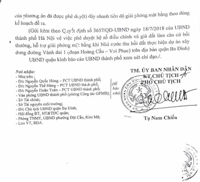 UBND quận Ba Đình đã gửi Văn bản số 2280/UBND - BDA ngày 16/10/2018 đến UBND thành phố Hà Nội kiến nghị điều chỉnh giá đất cụ thể làm căn cứ bồi thường, hỗ trợ để thực hiện Dự án Xây dựng đường Liễu Giai - Núi Trúc.