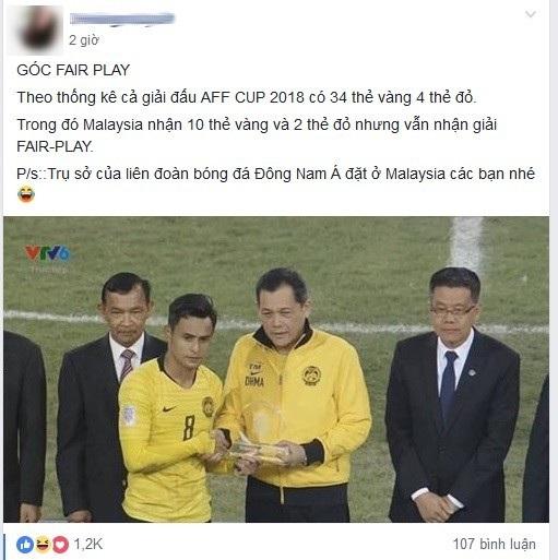 Một cư dân mạng thắc mắc khi đội tuyển Malaysia nhận được giải Fair Play (chơi đẹp) của giải đấu năm nay
