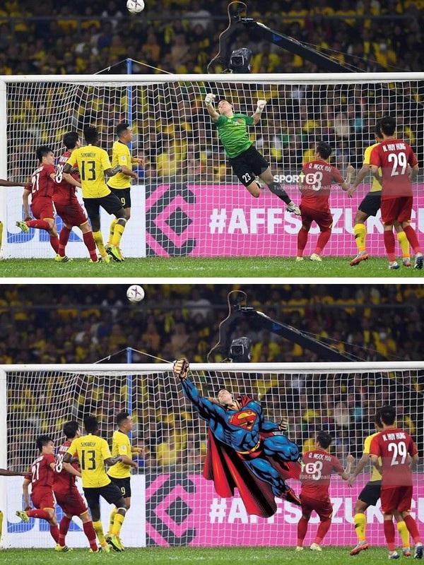 Pha bay người đấm bóng của thủ môn Đặng Văn Lâm giống như tư thế bay của Superman (Siêu nhân)