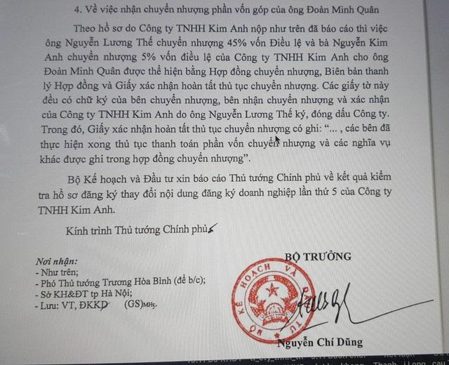 Văn bản báo cáo của Bộ Kế hoạch và Đầu tư về vụ việc của Công ty TNHH Kim Anh.