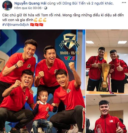 Trên trang cá nhân, Quang Hải chia sẻ chiến thắng của đội tuyển Việt Nam là món quà đặc biệt dành tặng bé Tom - cậu bé 4 tuổi mắc bệnh u não.