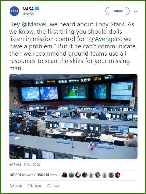 Đăng tải của NASA trên mạng xã hội