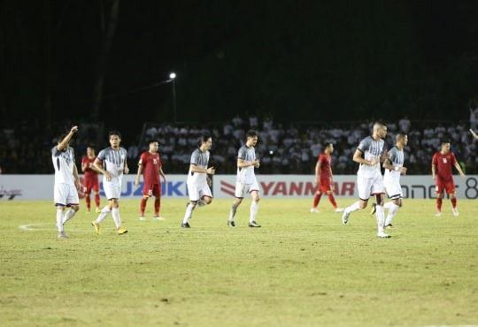 Cầu thủ Philippines ăn mừng bàn thắng gỡ hòa 1-1 của Patrick Reichelt