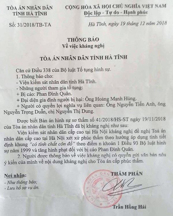 Thông báo về việc VKSND cấp cao kháng nghị tăng hình phạt đối với bị cáo Phan Đình Quân.