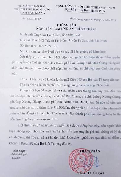 TAND TP Bắc Giang đã chính thức nhận đơn và có thông báo nộp tiền tạm ứng án phí sơ thẩm.