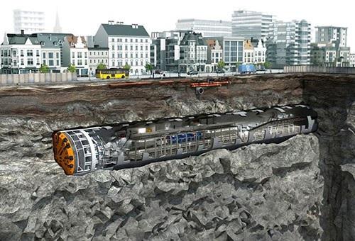 """""""Quái vật"""" trăm tấn của Ý đào hầm đường sắt Nhổn - ga Hà Nội - Ảnh 1."""