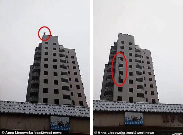 Khoảnh khắc thiếu niên Bogdan Firsov nhảy xuống từ tòa nhà 14 tầng