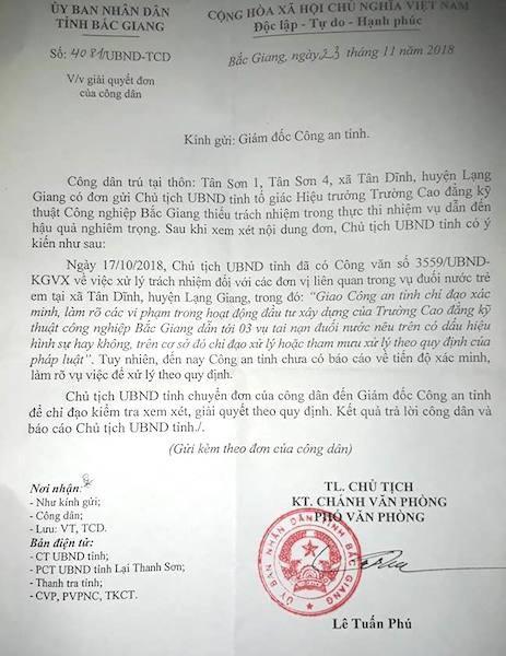Chủ tịch UBND tỉnh Bắc Giang tiếp tục có công văn gửi trực tiếp Giám đốc công an tỉnh để chỉ đạo giải quyết vụ việc.
