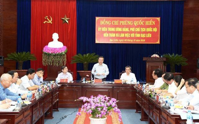Đoàn công tác của Quốc hội thăm và làm việc với tỉnh Bạc Liêu ngày 3/12. (Ảnh: P.T.C.)