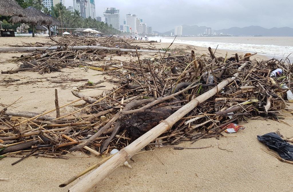 Nha Trang: Bãi biển vắng khách vì hàng tấn rác dạt vào bờ sau mưa lũ - Ảnh 7.