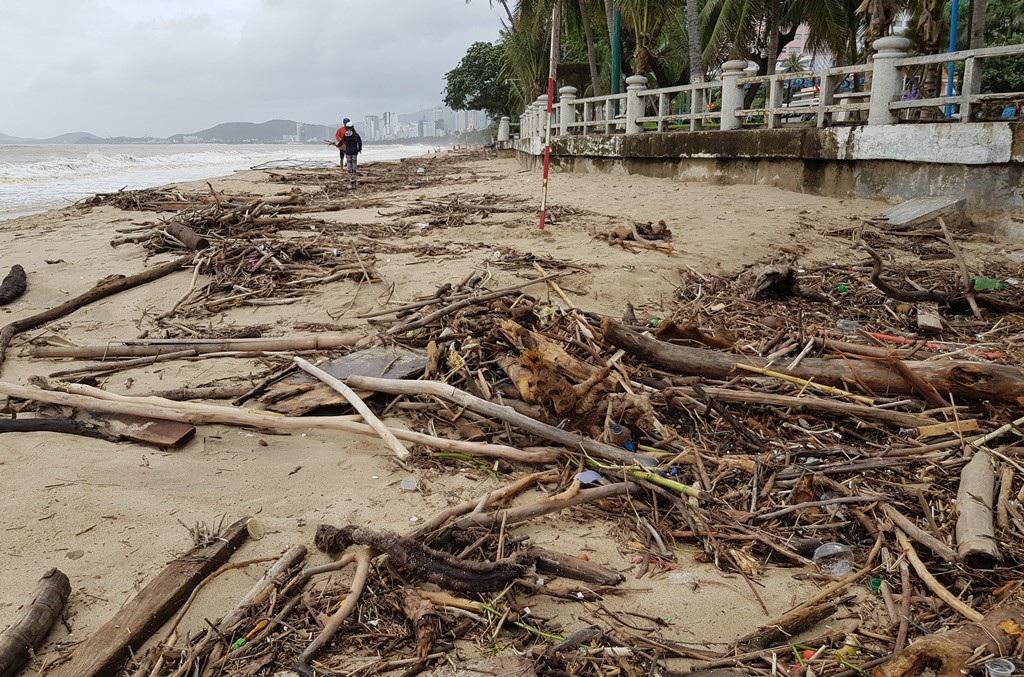 Nha Trang: Bãi biển vắng khách vì hàng tấn rác dạt vào bờ sau mưa lũ - Ảnh 10.