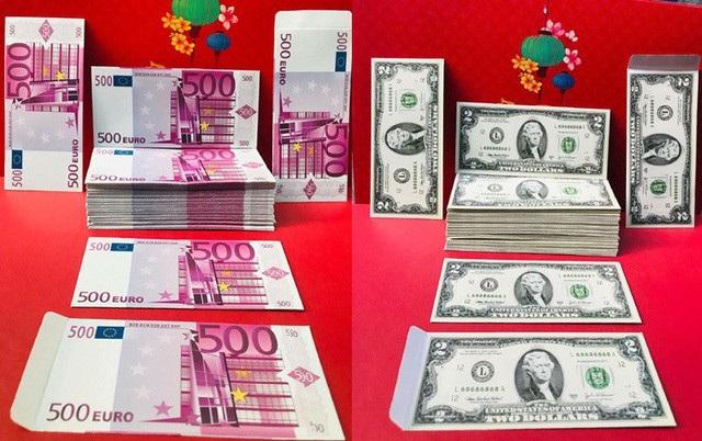 Ngoài bao lì xì tiền Việt Nam đồng, thị trường còn xuất hiện mẫu bao lì xì tiền nước ngoài.