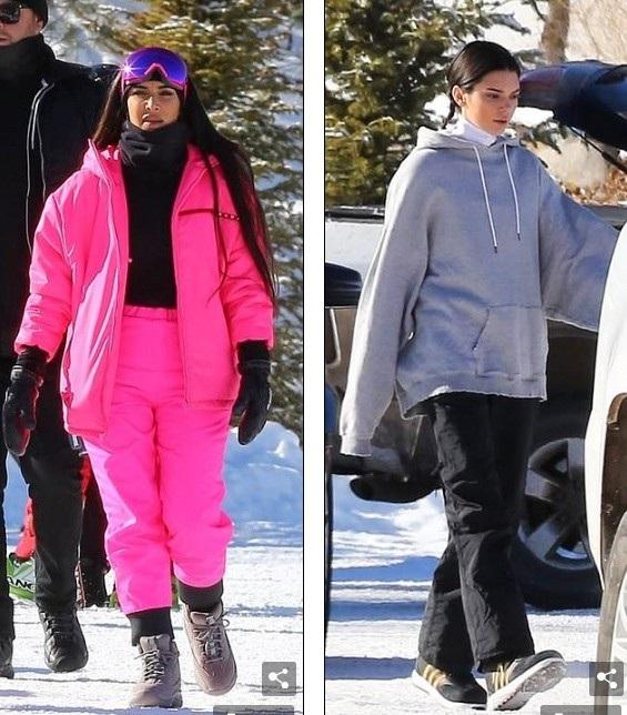 Kim Kardashian cùng em gái Kendall Jenner xuất hiện tại khu nghỉ ở Aspen ngày 29/12 vừa qua