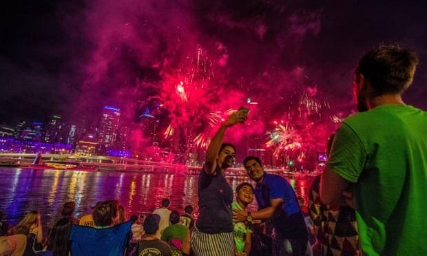 Màn bắn pháo hoa tưng bừng ở Brisbane, Australia. (Ảnh: AAP)