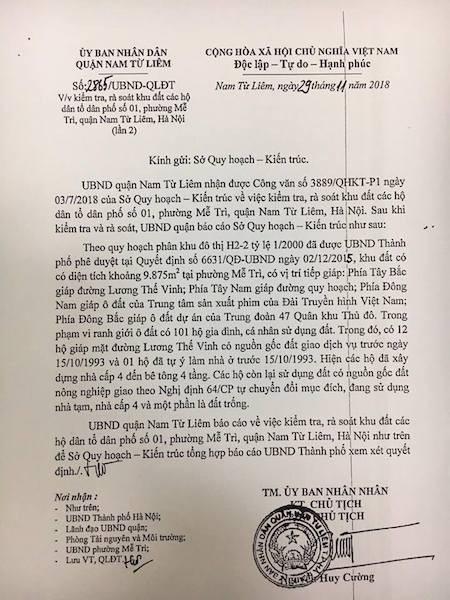 Tuy nhiên báo cáo của UBND quận Nam Từ Liêm khiến người dân hoang mang.