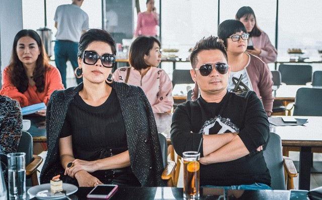 Bằng Kiều và Thu Phương trong buổi họp báo.