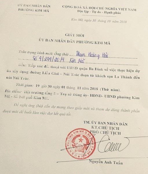 UBND phường Kim Mã mời người dân đối thoại để giải quyết sự việc.
