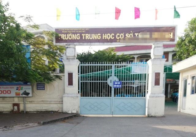 Trường THCS T.H. (TP Bạc Liêu), nơi được cho là xảy ra vụ việc.