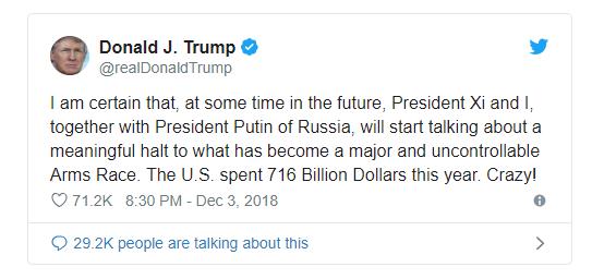Ông Trump muốn Mỹ cùng Nga, Trung Quốc ngăn chạy đua vũ trang. (Ảnh: Twitter)