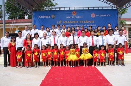 Công trình trường Mầm non Phú Đình do Tập đoàn Bảo Việt hỗ trợ xây dựng.
