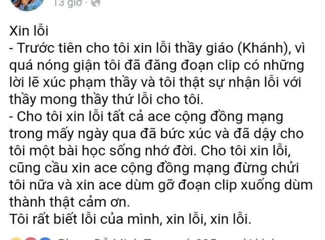 Trang Facebook đăng lời xin lỗi thầy Khánh. Tuy nhiên, chỉ sau vài giờ tiếp tục bị cộng đồng mạng khủng bố, hiện nay nội dung này đã bị xóa.